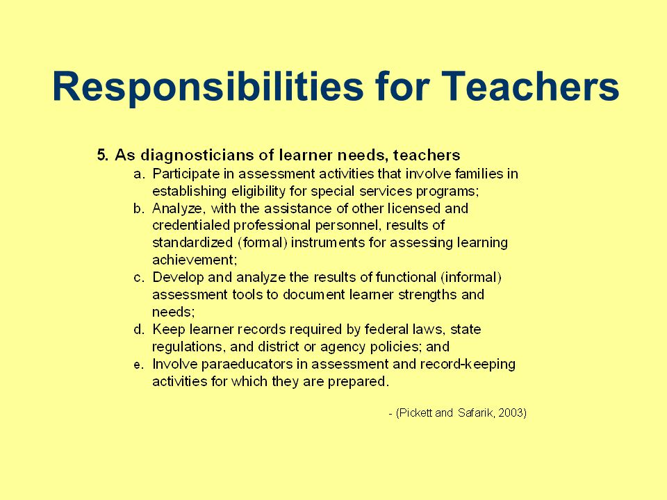 Adapted from Strengthening and Supporting Teacher/Provider-Paraeducator Teams: Guidelines for Paraeducator Roles, Supervision, and Preparation, by A.L.