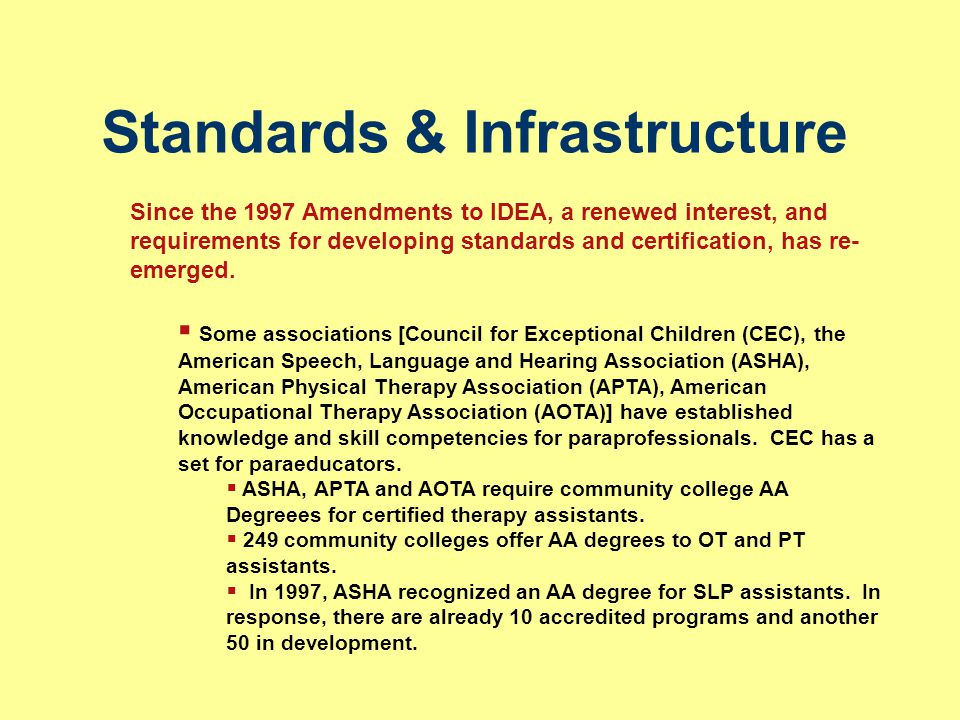 Standards & Infrastructure Since the 1997 Amendments to IDEA, a renewed interest, and requirements for developing standards and certification, has re-