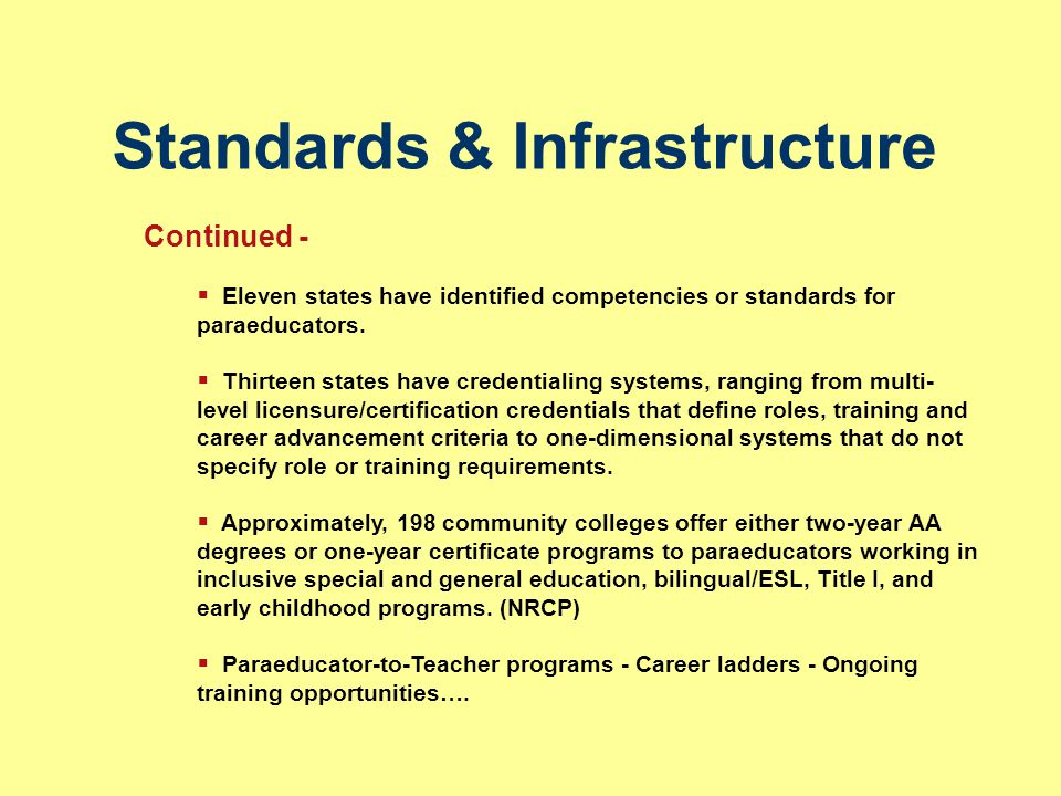 Standards & Infrastructure Continued -  Eleven states have identified competencies or standards for paraeducators.  Thirteen states have credentiali