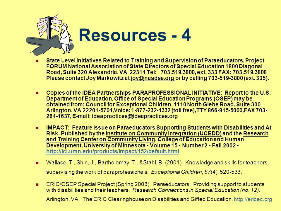 Resources - 4 State Level Initiatives Related to Training and Supervision of Paraeducators, Project FORUM National Association of State Directors of S