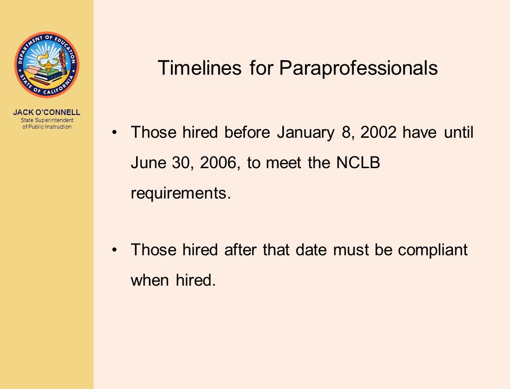 JACK O'CONNELL State Superintendent of Public Instruction Timelines for Paraprofessionals Those hired before January 8, 2002 have until June 30, 2006, to meet the NCLB requirements.