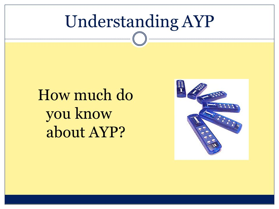 Understanding AYP How much do you know about AYP?