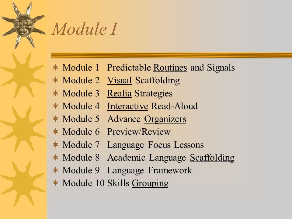Module II  Module 11 Total Physical Response  Module 12 Shared Reading  Module 13 Leveled Questions  Module 14 Manipulative Strategies  Module 15 Partner Work  Module 16 Communication Games  Module 17 Bilingual Books and Labels  Module 18 Cooperative Learning  Module 19 Culture Studies  Module 20 Learning Centers