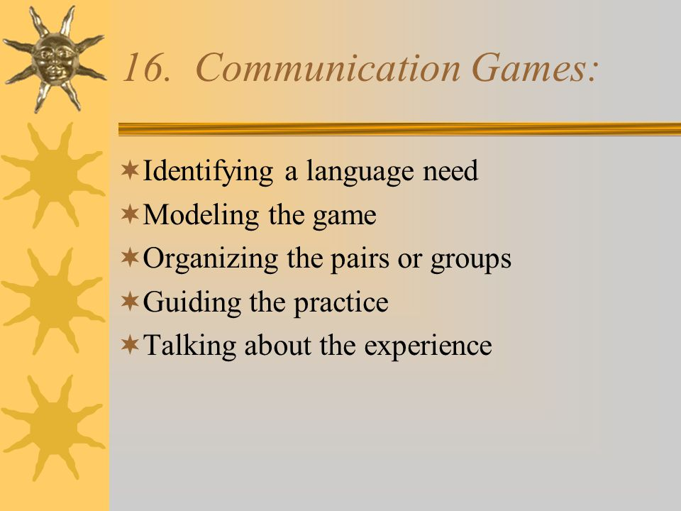 Activity: Communication games ActivityDescriptionExample Barrier Games2 students sit back to back.
