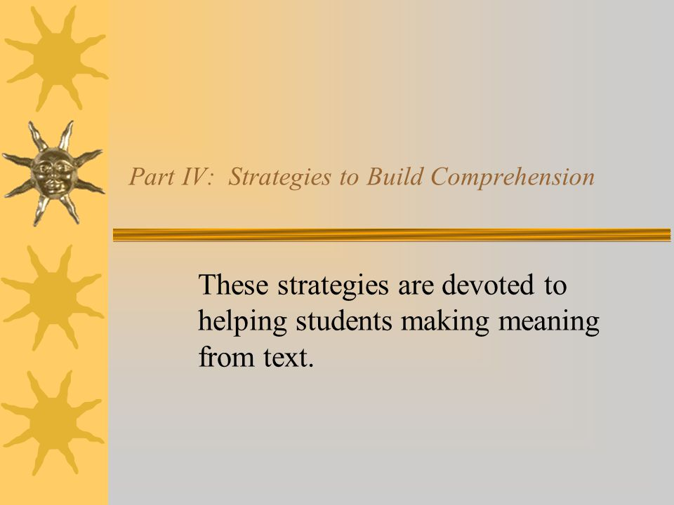 Part IV: Strategies to Build Comprehension These strategies are devoted to helping students making meaning from text.
