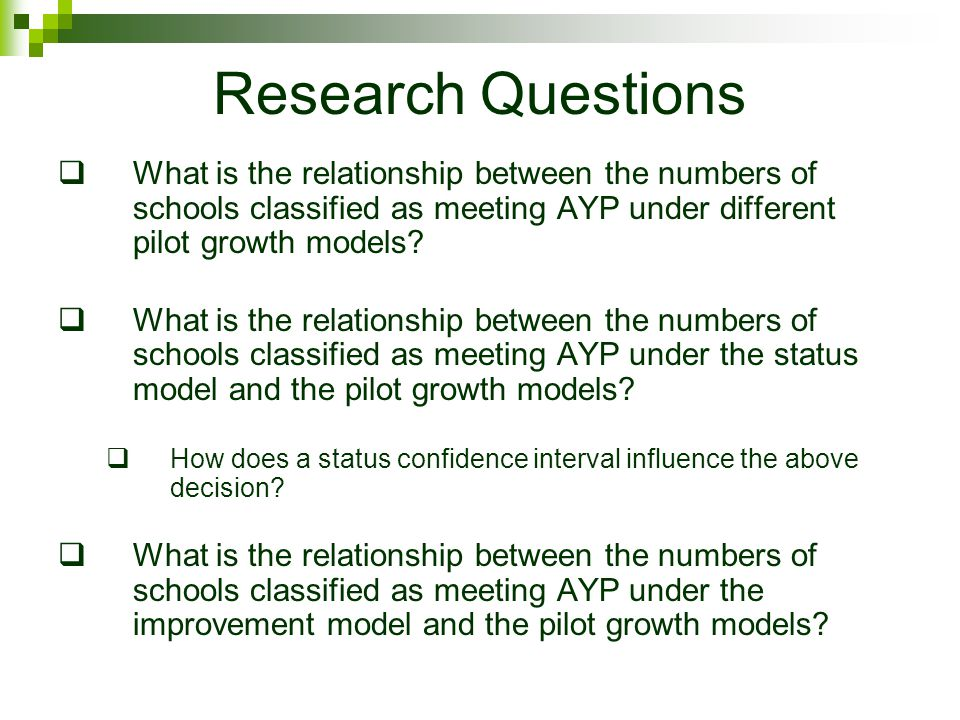 Research Questions  What is the relationship between the numbers of schools classified as meeting AYP under different pilot growth models.