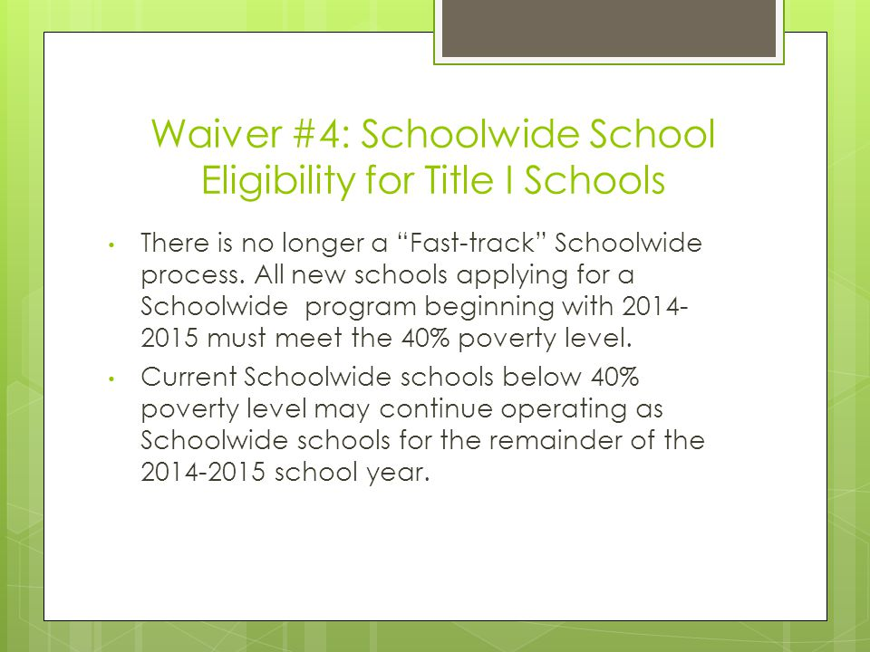 Waiver #6: School Improvement Set-Aside Requirements – Part 1  LEAs with schools in improvement status must spend an amount equal to 20% of its Title I allocation to provide Supplemental Education Services (SES) and School Choice Transportation.