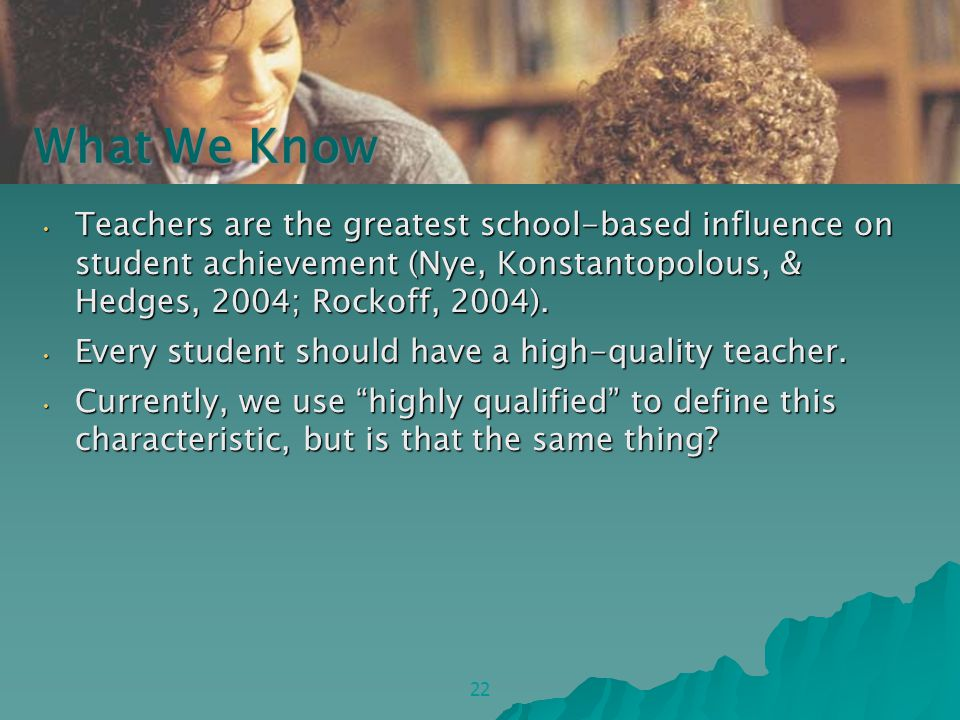Teachers are the greatest school-based influence on student achievement (Nye, Konstantopolous, & Hedges, 2004; Rockoff, 2004).
