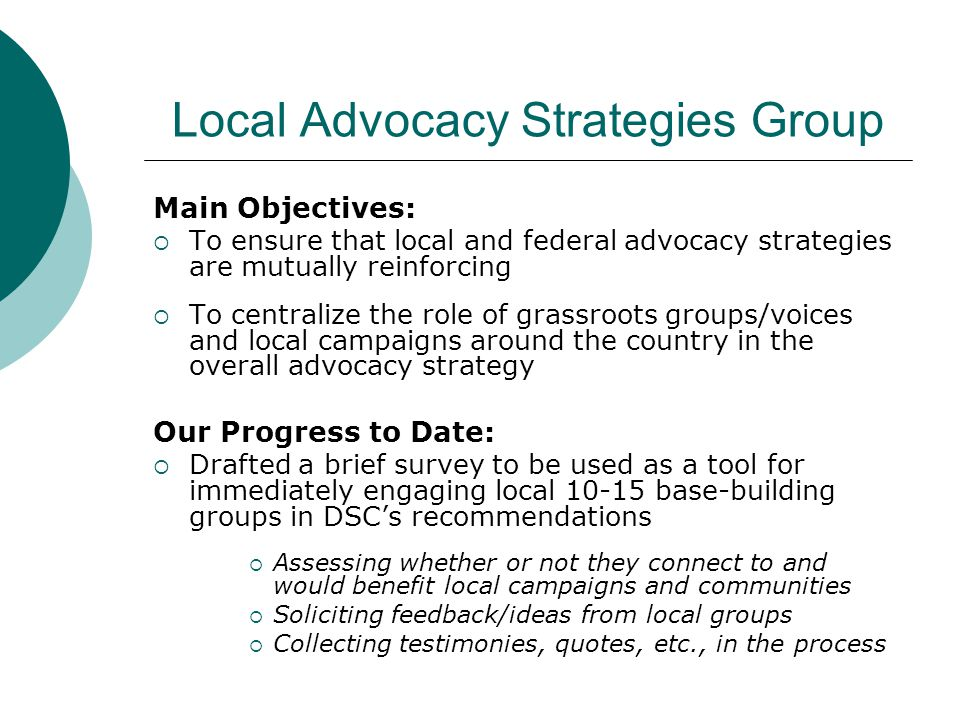 Local Advocacy Strategies Group Main Objectives:  To ensure that local and federal advocacy strategies are mutually reinforcing  To centralize the role of grassroots groups/voices and local campaigns around the country in the overall advocacy strategy Our Progress to Date:  Drafted a brief survey to be used as a tool for immediately engaging local 10-15 base-building groups in DSC's recommendations  Assessing whether or not they connect to and would benefit local campaigns and communities  Soliciting feedback/ideas from local groups  Collecting testimonies, quotes, etc., in the process