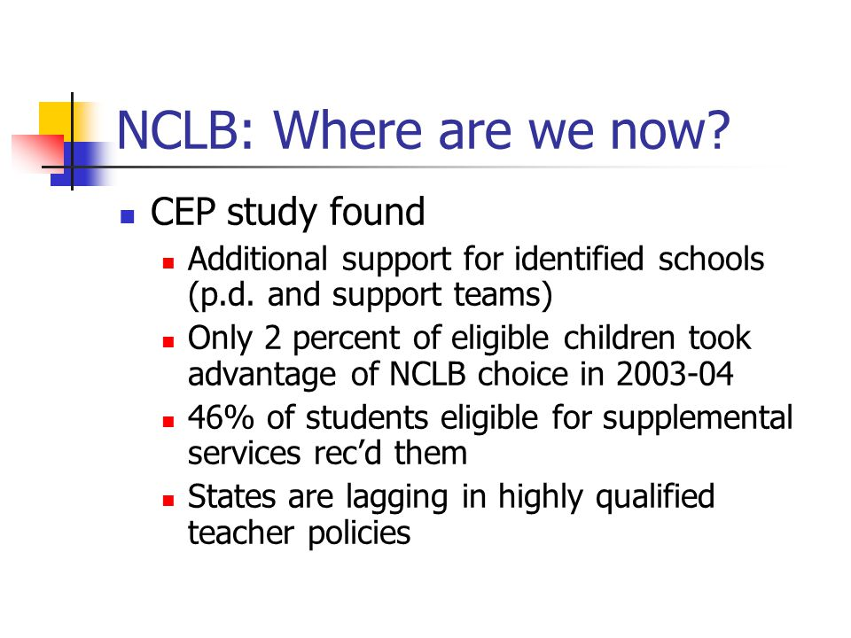 NCLB: Where are we now. CEP study found Additional support for identified schools (p.d.