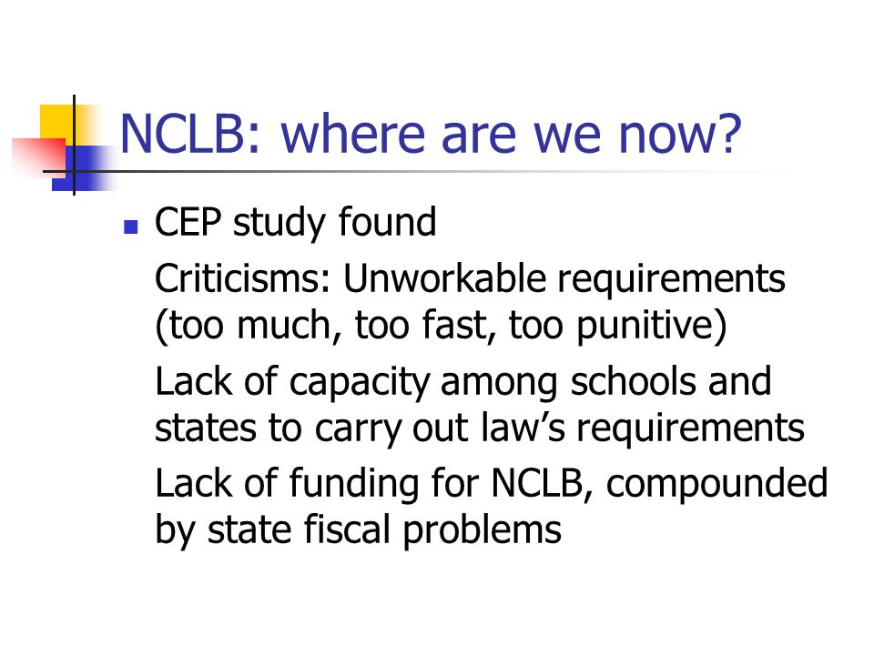 NCLB: where are we now.