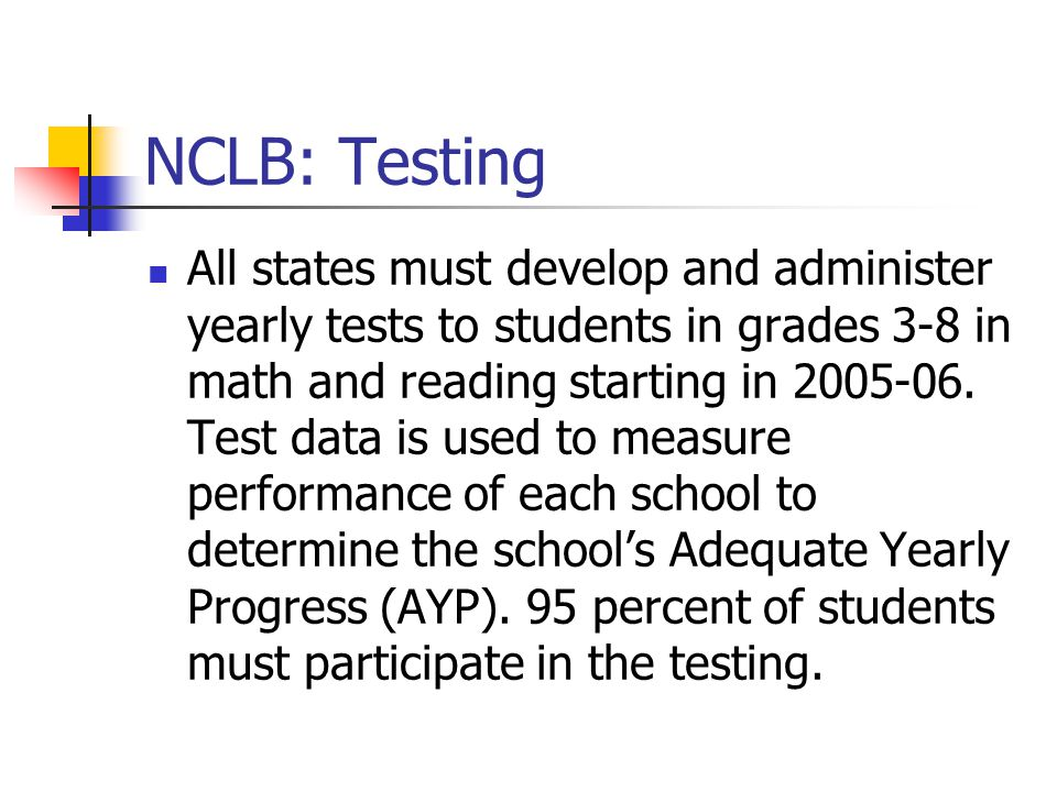 NCLB: Testing All states must develop and administer yearly tests to students in grades 3-8 in math and reading starting in 2005-06.