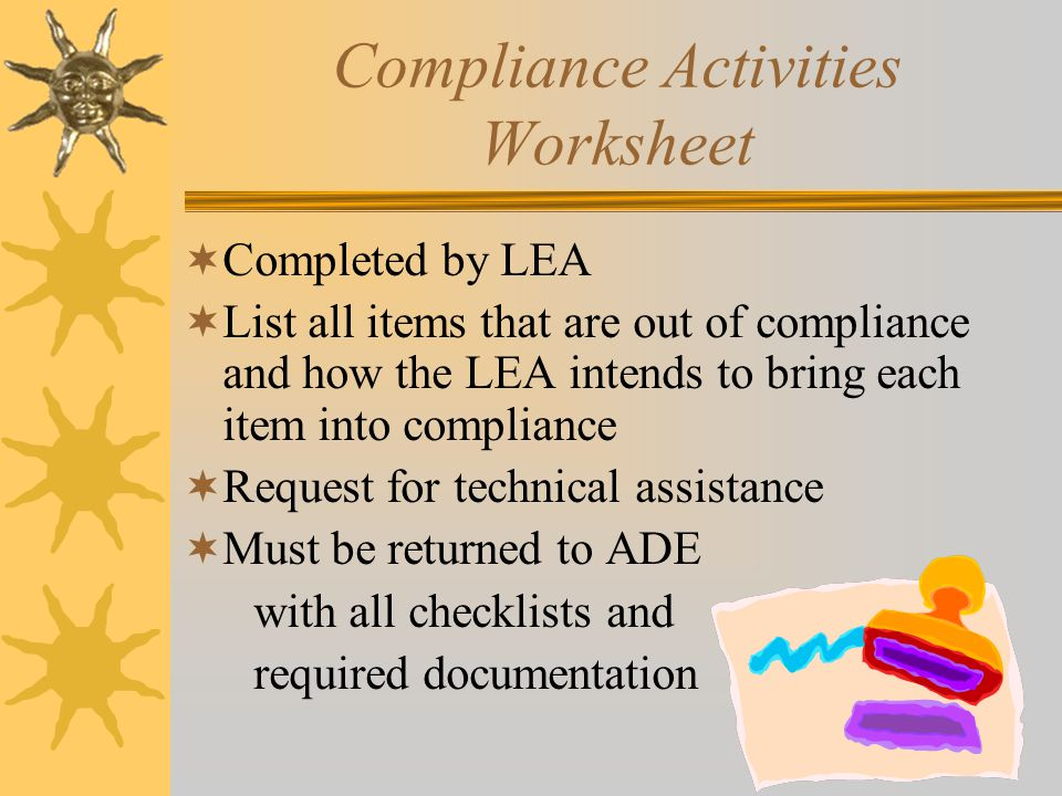 Compliance Activities Worksheet  Completed by LEA  List all items that are out of compliance and how the LEA intends to bring each item into compliance  Request for technical assistance  Must be returned to ADE with all checklists and required documentation