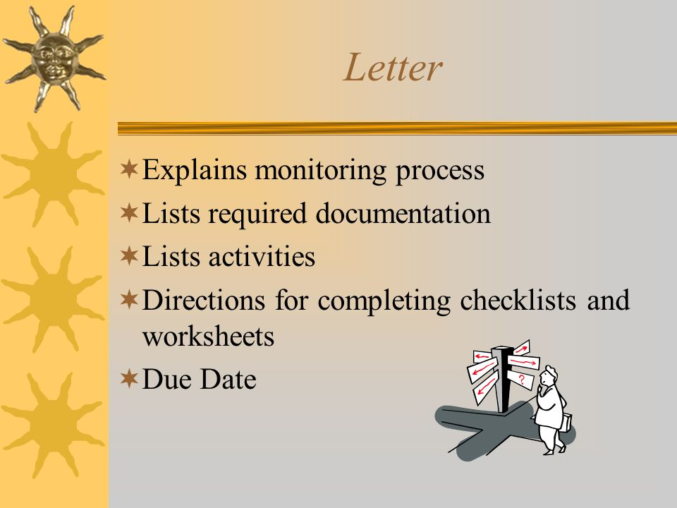 Letter  Explains monitoring process  Lists required documentation  Lists activities  Directions for completing checklists and worksheets  Due Dat