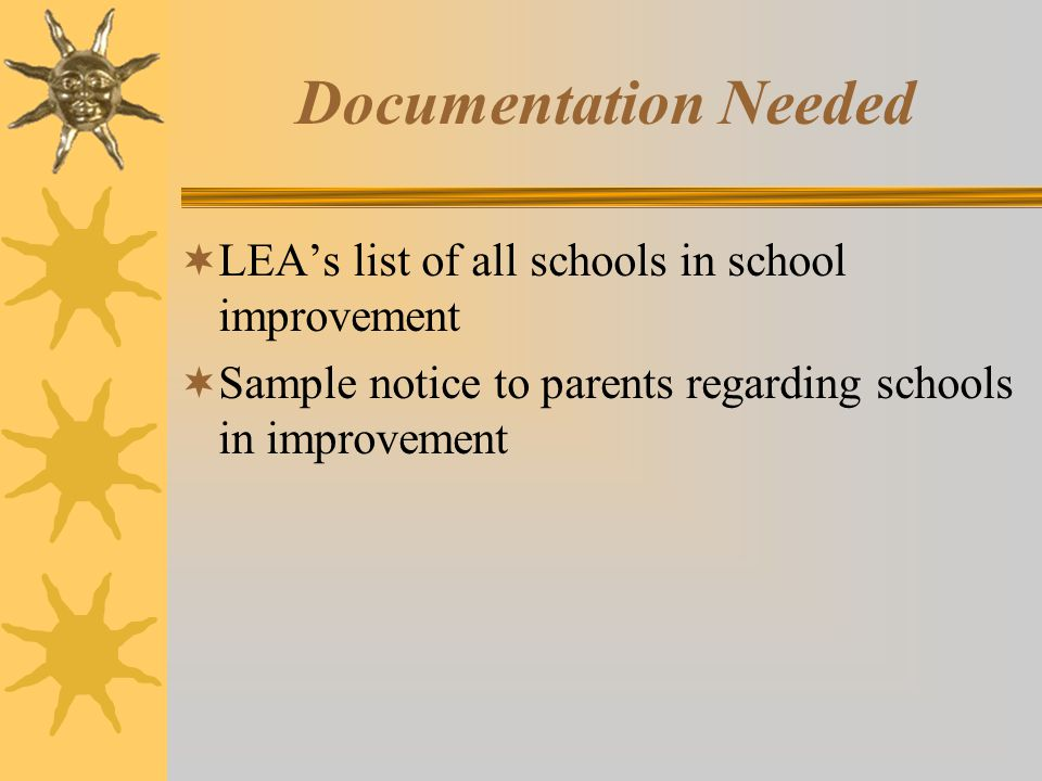 Documentation Needed  LEA's list of all schools in school improvement  Sample notice to parents regarding schools in improvement
