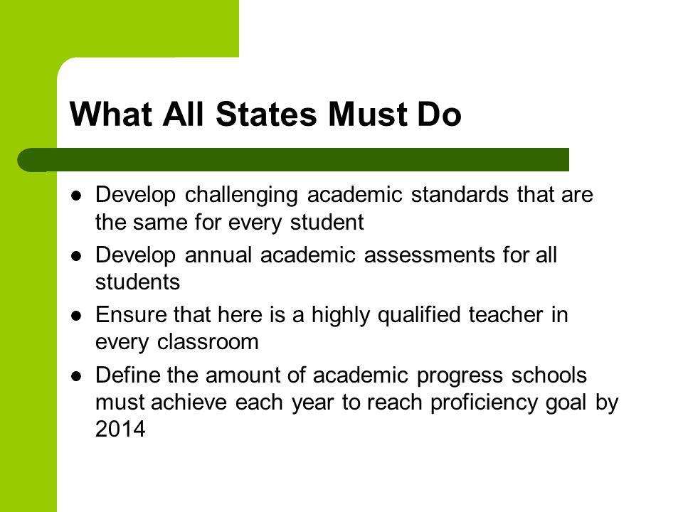 What All States Must Do Develop challenging academic standards that are the same for every student Develop annual academic assessments for all students Ensure that here is a highly qualified teacher in every classroom Define the amount of academic progress schools must achieve each year to reach proficiency goal by 2014
