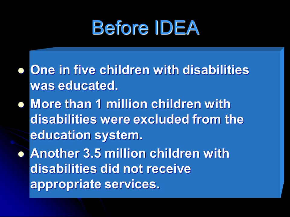 Before IDEA One in five children with disabilities was educated.