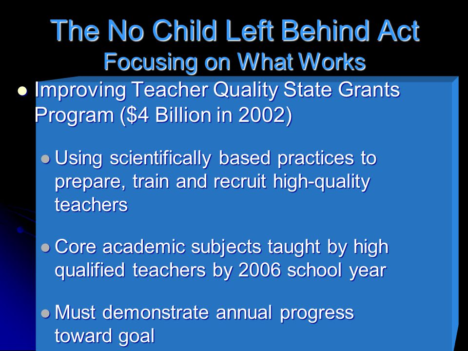 The No Child Left Behind Act Focusing on What Works Improving Teacher Quality State Grants Program ($4 Billion in 2002) Improving Teacher Quality State Grants Program ($4 Billion in 2002) Using scientifically based practices to prepare, train and recruit high-quality teachers Using scientifically based practices to prepare, train and recruit high-quality teachers Core academic subjects taught by high qualified teachers by 2006 school year Core academic subjects taught by high qualified teachers by 2006 school year Must demonstrate annual progress toward goal Must demonstrate annual progress toward goal