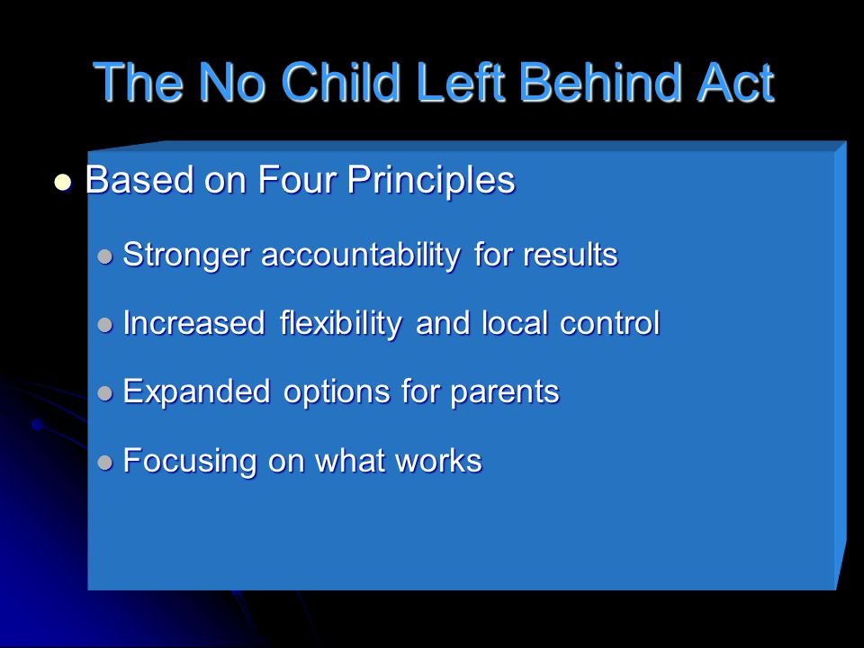 The No Child Left Behind Act Based on Four Principles Based on Four Principles Stronger accountability for results Stronger accountability for results Increased flexibility and local control Increased flexibility and local control Expanded options for parents Expanded options for parents Focusing on what works Focusing on what works