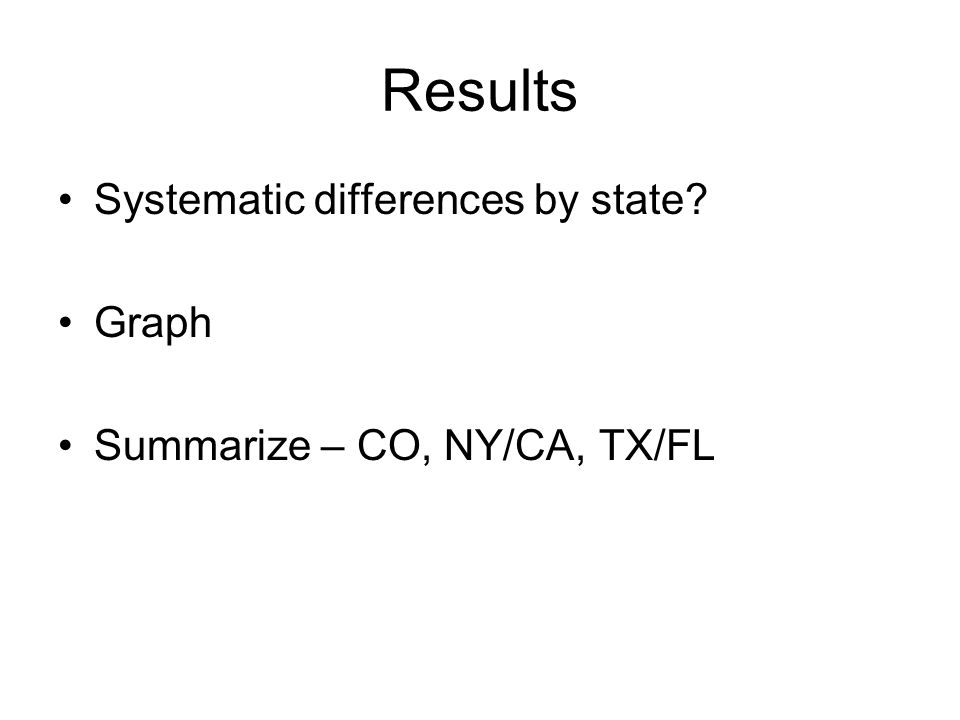 Results Systematic differences by state? Graph Summarize – CO, NY/CA, TX/FL