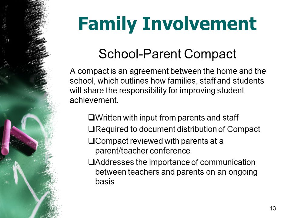 13 Family Involvement School-Parent Compact A compact is an agreement between the home and the school, which outlines how families, staff and students will share the responsibility for improving student achievement.