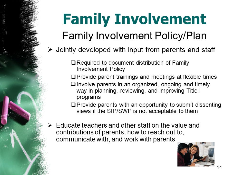 14 Family Involvement Family Involvement Policy/Plan  Jointly developed with input from parents and staff  Required to document distribution of Family Involvement Policy  Provide parent trainings and meetings at flexible times  Involve parents in an organized, ongoing and timely way in planning, reviewing, and improving Title I programs  Provide parents with an opportunity to submit dissenting views if the SIP/SWP is not acceptable to them  Educate teachers and other staff on the value and contributions of parents; how to reach out to, communicate with, and work with parents