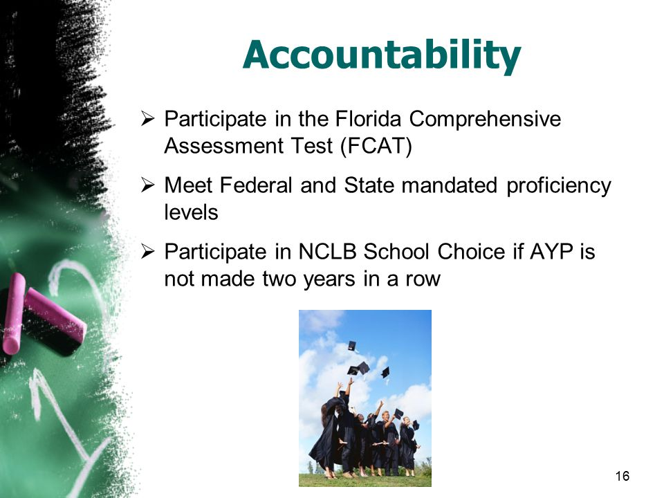 16 Accountability  Participate in the Florida Comprehensive Assessment Test (FCAT)  Meet Federal and State mandated proficiency levels  Participate in NCLB School Choice if AYP is not made two years in a row