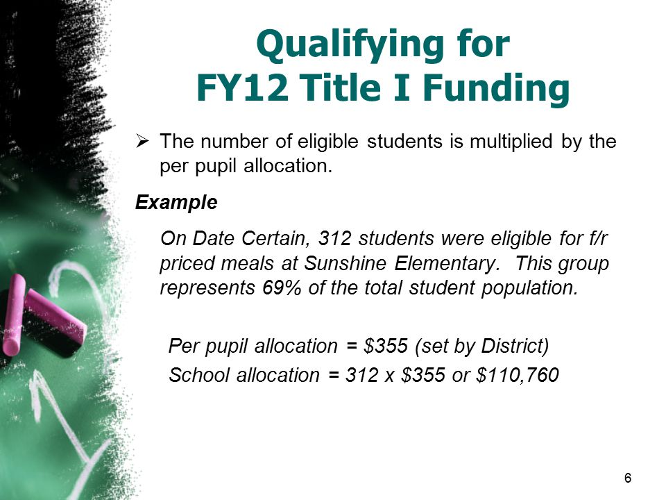 6 Qualifying for FY12 Title I Funding  The number of eligible students is multiplied by the per pupil allocation.