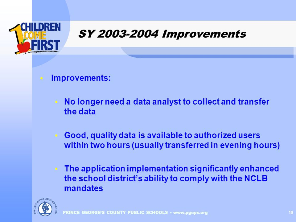 PRINCE GEORGE'S COUNTY PUBLIC SCHOOLS www.pgcps.org 10 SY 2003-2004 Improvements Improvements: No longer need a data analyst to collect and transfer the data Good, quality data is available to authorized users within two hours (usually transferred in evening hours) The application implementation significantly enhanced the school district's ability to comply with the NCLB mandates