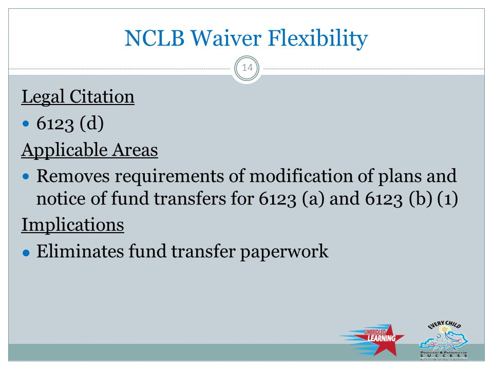 NCLB Waiver Flexibility Legal Citation 6123 (d) Applicable Areas Removes requirements of modification of plans and notice of fund transfers for 6123 (a) and 6123 (b) (1) Implications ● Eliminates fund transfer paperwork 14
