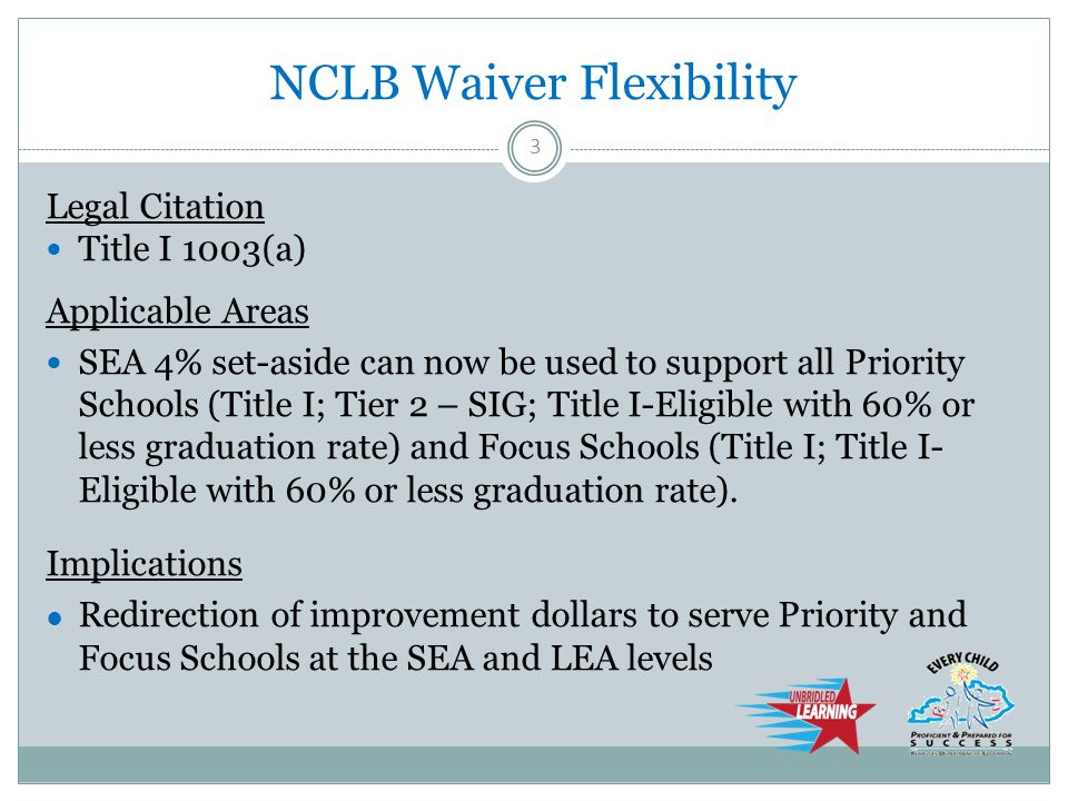 NCLB Waiver Flexibility Legal Citation 1003(g) Applicable Areas SIG funds may support any Priority School.