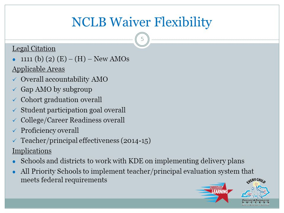NCLB Waiver Flexibility Legal Citation ● 1111 (b) (2) (E) – (H) – New AMOs Applicable Areas Overall accountability AMO Gap AMO by subgroup Cohort graduation overall Student participation goal overall College/Career Readiness overall Proficiency overall Teacher/principal effectiveness (2014-15) Implications ● Schools and districts to work with KDE on implementing delivery plans ● All Priority Schools to implement teacher/principal evaluation system that meets federal requirements 5