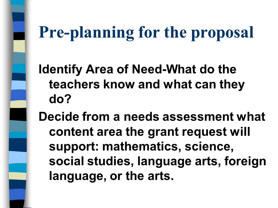 Pre-planning for the proposal Identify Area of Need-What do the teachers know and what can they do.