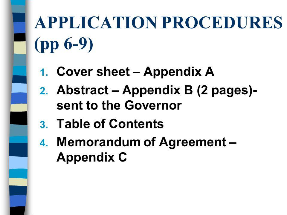 APPLICATION PROCEDURES (pp 6-9) 1. Cover sheet – Appendix A 2.