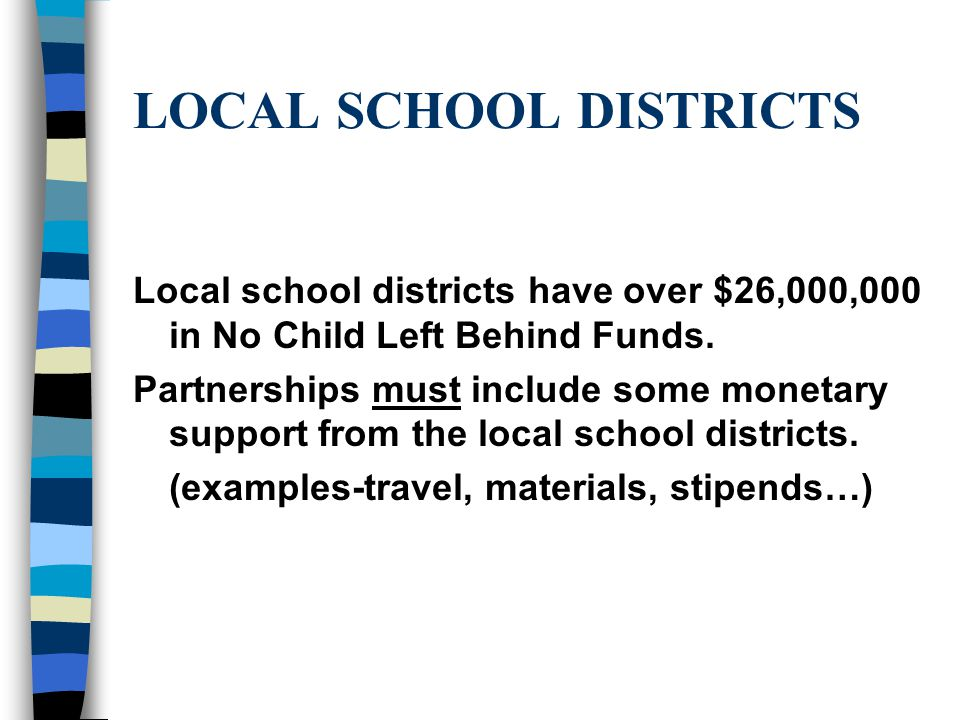 LOCAL SCHOOL DISTRICTS Local school districts have over $26,000,000 in No Child Left Behind Funds.
