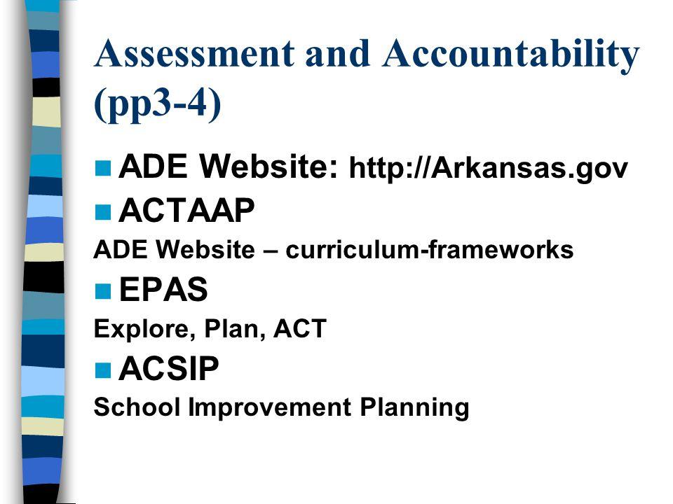 Assessment and Accountability (pp3-4) ADE Website: http://Arkansas.gov ACTAAP ADE Website – curriculum-frameworks EPAS Explore, Plan, ACT ACSIP School Improvement Planning