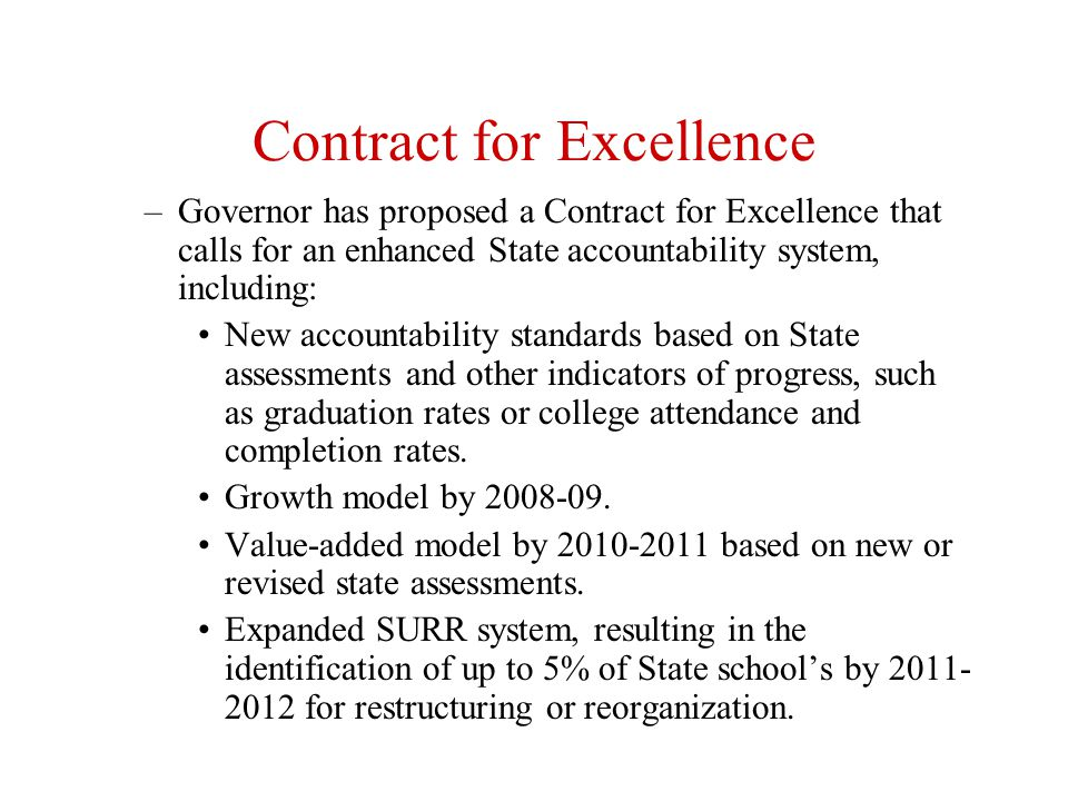 Contract for Excellence: Plans for Intervention School Review Teams conduct resource, program and planning audits of SINI and SRAP schools and assist all SINI and SRAP schools in development of improvement plans.