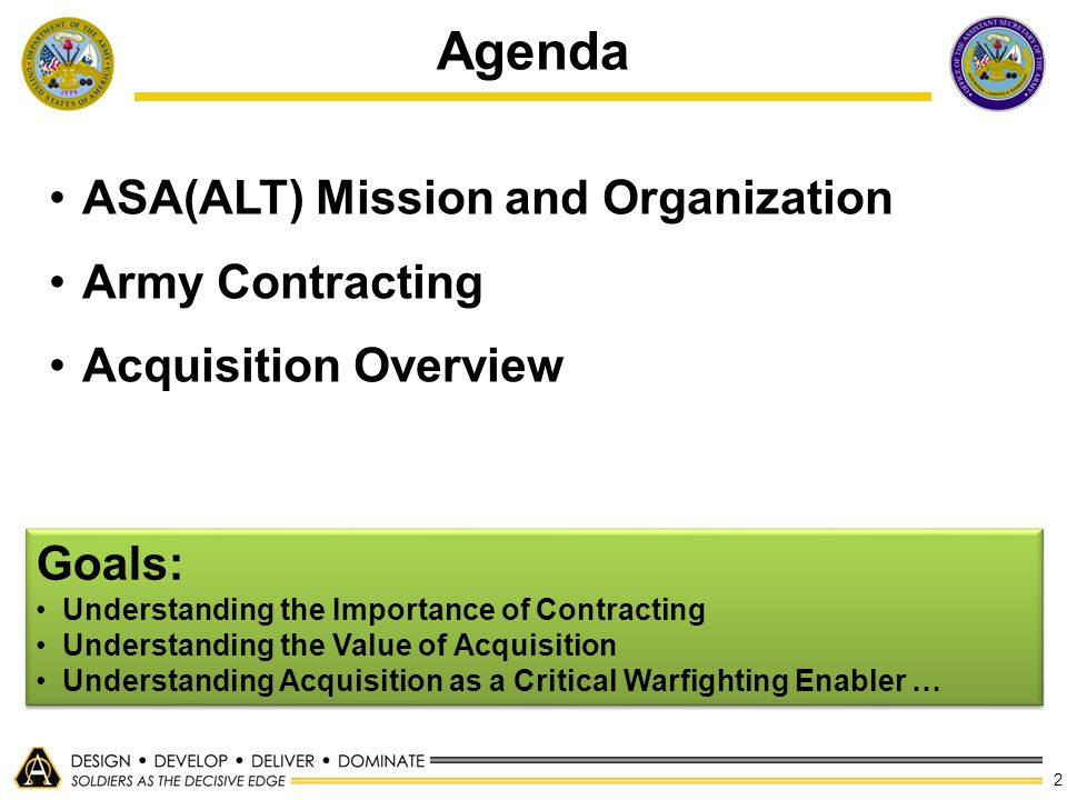 2 Agenda ASA(ALT) Mission and Organization Army Contracting Acquisition Overview Goals: Understanding the Importance of Contracting Understanding the