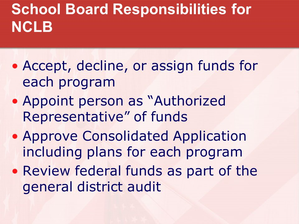 School Board Responsibilities for NCLB Accept, decline, or assign funds for each program Appoint person as Authorized Representative of funds Approve Consolidated Application including plans for each program Review federal funds as part of the general district audit