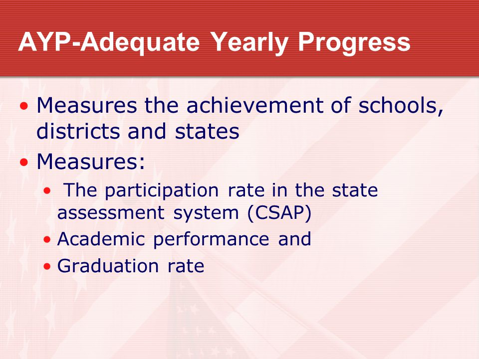 AYP-Adequate Yearly Progress Measures the achievement of schools, districts and states Measures: The participation rate in the state assessment system (CSAP) Academic performance and Graduation rate