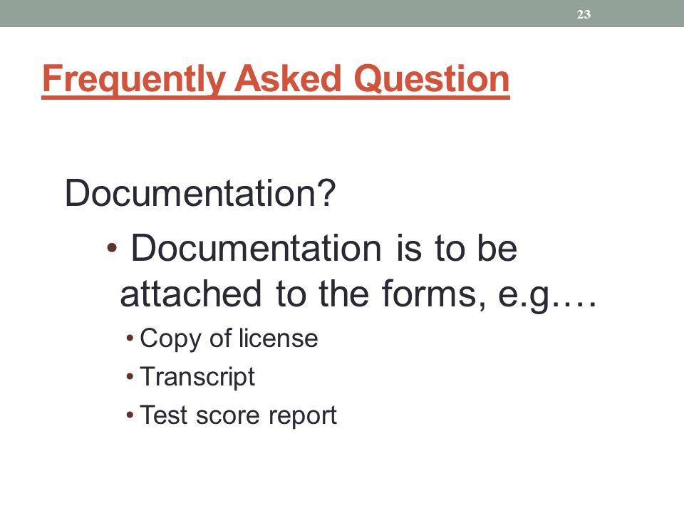 Frequently Asked Question Documentation.