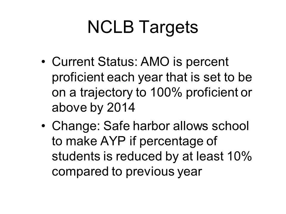 NCLB Targets Current Status: AMO is percent proficient each year that is set to be on a trajectory to 100% proficient or above by 2014 Change: Safe ha