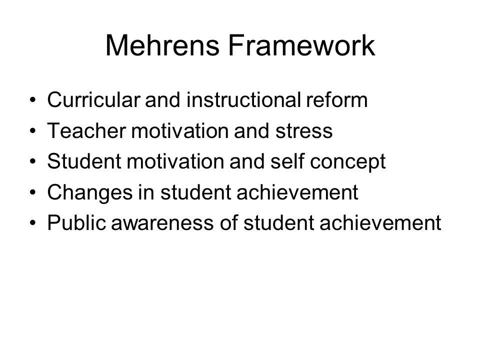 Mehrens Framework Curricular and instructional reform Teacher motivation and stress Student motivation and self concept Changes in student achievement Public awareness of student achievement