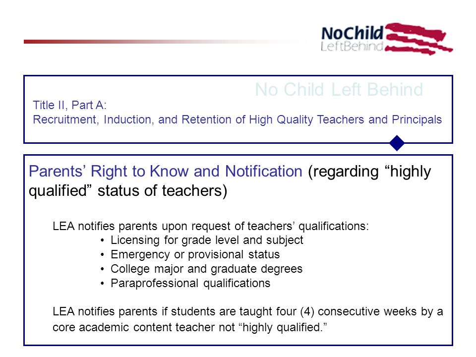 No Child Left Behind Title II, Part A: Recruitment, Induction, and Retention of High Quality Teachers and Principals Parents' Right to Know and Notification (regarding highly qualified status of teachers) LEA notifies parents upon request of teachers' qualifications: Licensing for grade level and subject Emergency or provisional status College major and graduate degrees Paraprofessional qualifications LEA notifies parents if students are taught four (4) consecutive weeks by a core academic content teacher not highly qualified.