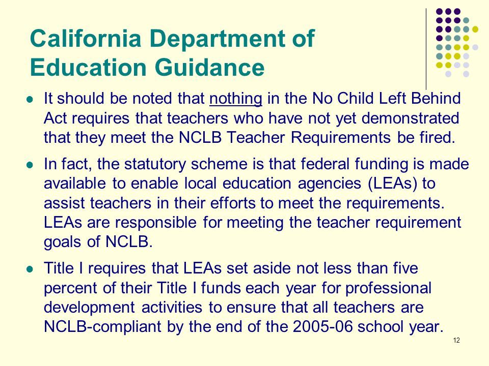 12 California Department of Education Guidance It should be noted that nothing in the No Child Left Behind Act requires that teachers who have not yet