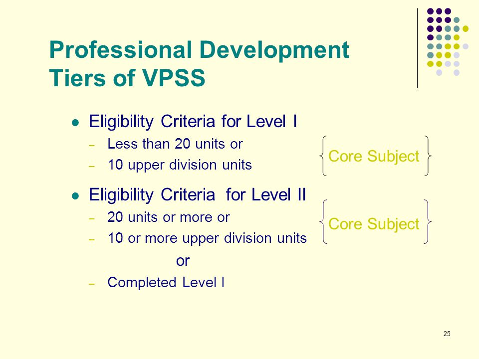 25 Professional Development Tiers of VPSS Eligibility Criteria for Level I – Less than 20 units or – 10 upper division units Eligibility Criteria for