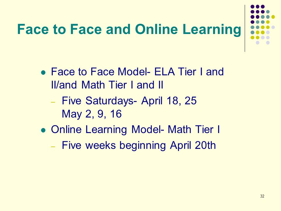 32 Face to Face and Online Learning Face to Face Model- ELA Tier I and II/and Math Tier I and II – Five Saturdays- April 18, 25 May 2, 9, 16 Online Le