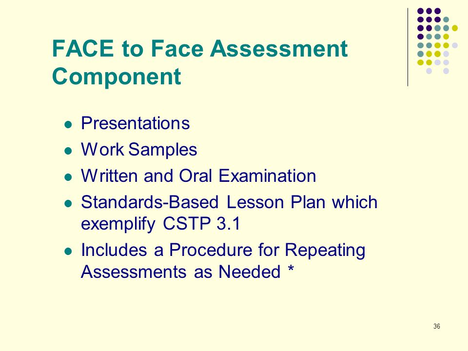 36 FACE to Face Assessment Component Presentations Work Samples Written and Oral Examination Standards-Based Lesson Plan which exemplify CSTP 3.1 Incl