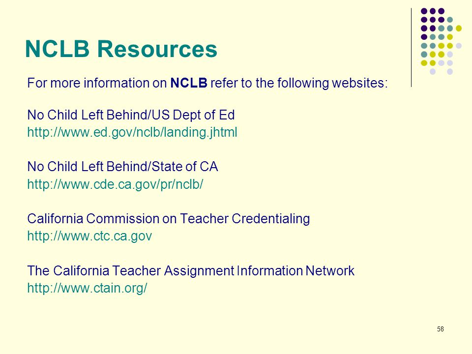 58 NCLB Resources For more information on NCLB refer to the following websites: No Child Left Behind/US Dept of Ed http://www.ed.gov/nclb/landing.jhtm