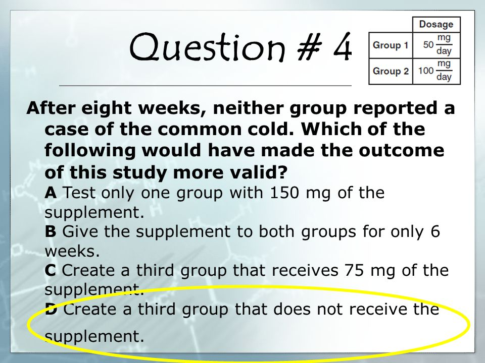 Question # 5 Students hypothesized that their normal pulse rates would double after doing 50 sit ups.